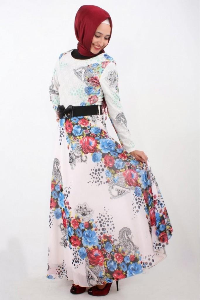 cicek-desenli-tesettur-elbise-modelleri-2