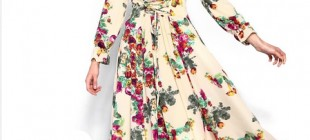 Çiçek Desenli Tesettür Elbise Modelleri