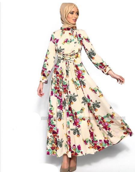 015e410e2d276 Çiçek Desenli Tesettür Elbise Modelleri - Tesettür Ay