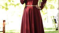 Dantel Detaylı Tesettür Elbise Modelleri