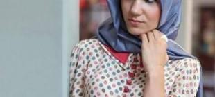 Tesettür Puantiyeli Elbise Modelleri