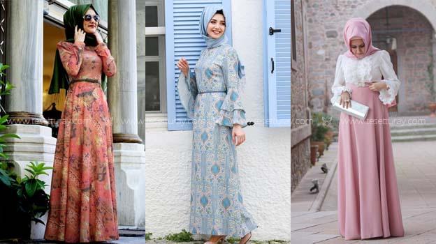 Derin Mavi Tesettür elbise 2016 yaz