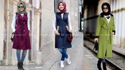2017 Tesettür Kışlık Elbiseler
